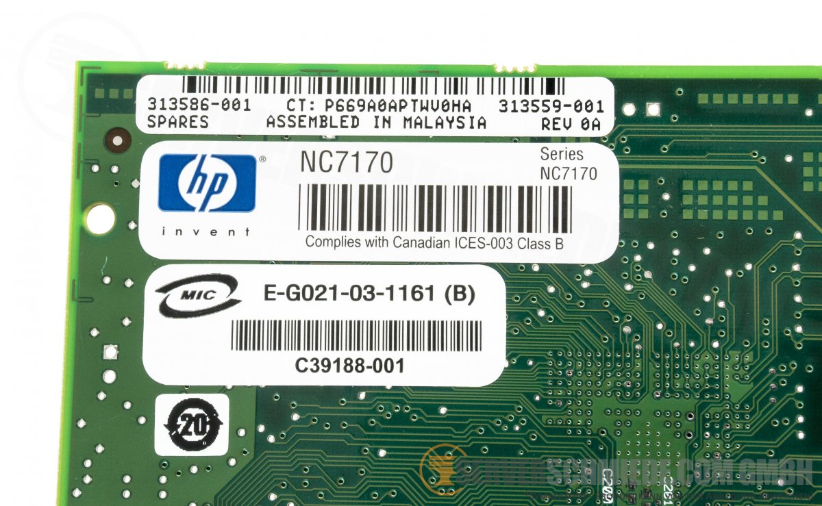 HP NC7170 1Gb Dual Port Ethernet Server Adapter 313586-001