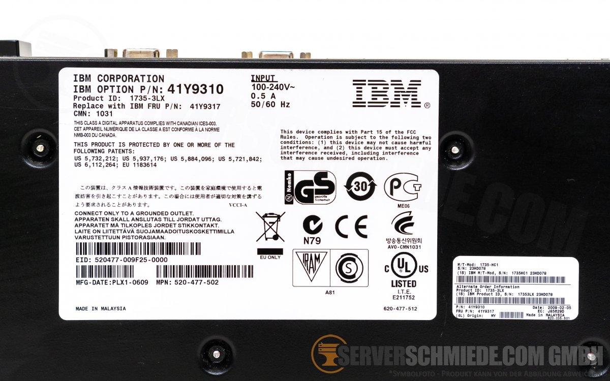 IBM 41Y9310 KVM 8 Port Console Switch 1735-3LX