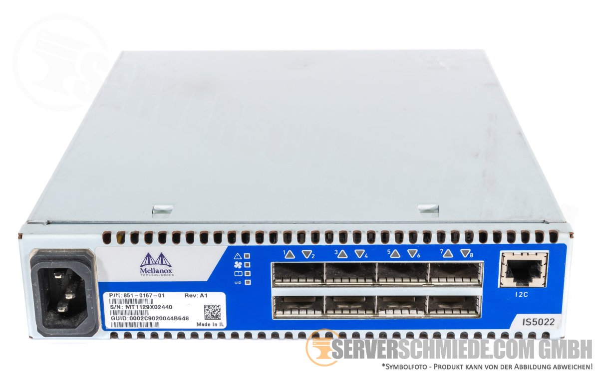 Mellanox Infiniscale IS5022 8-Port Switch 851-0167-01 REV:A1